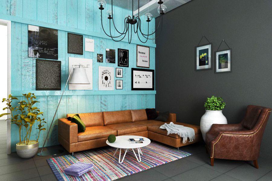phòng khách chung cư đẹp theo phong cách Retro